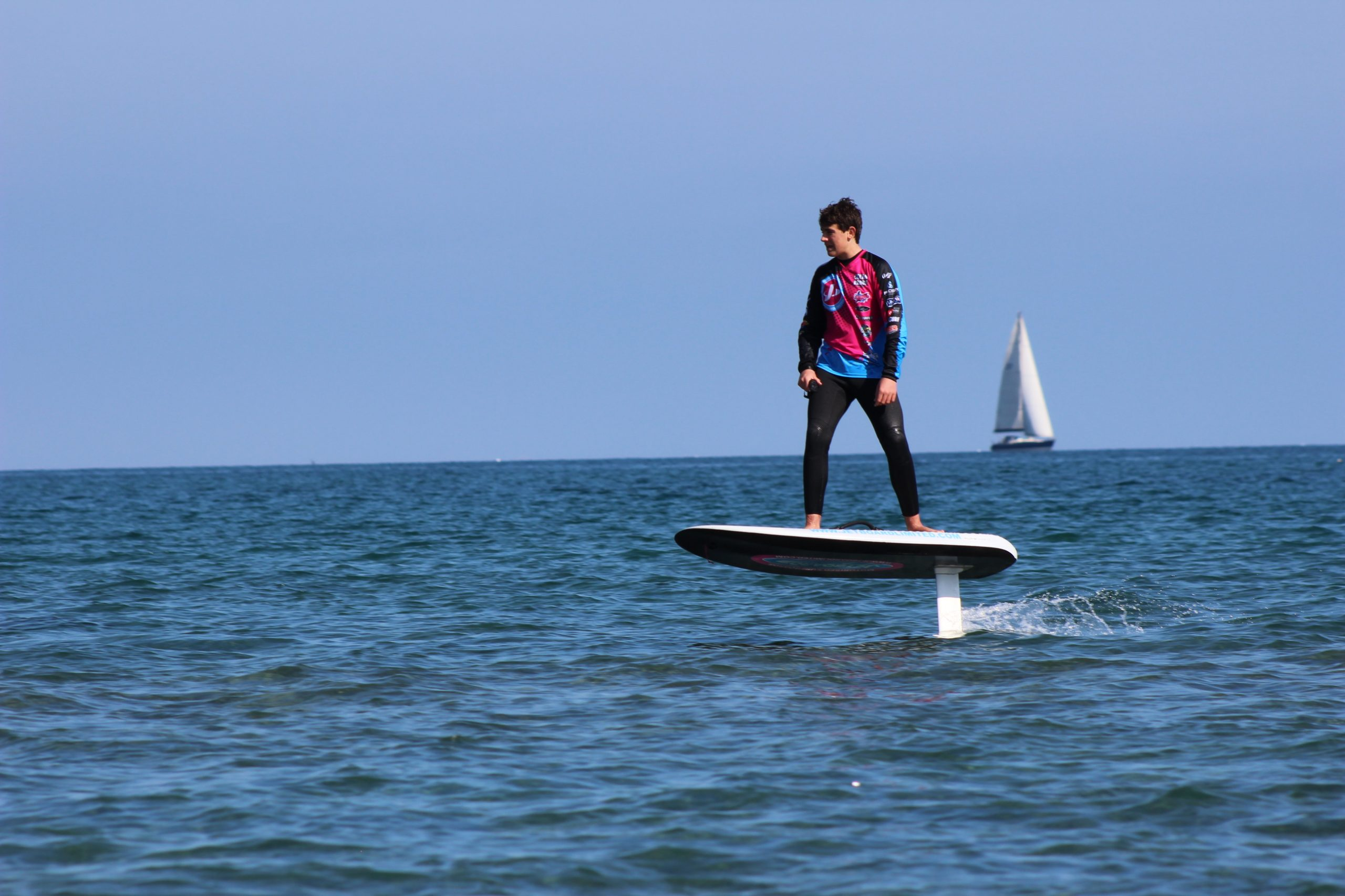 man riding fliteboard
